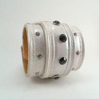 White and Silver Hand tooled Leather Bracelet, Cuff,