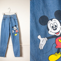 Vintage Mickey Mouse Jeans | High Waisted Jeans Mickey Mouse Denim Disney Jeans 80s Jeans Festival Boho 90s jeans Jerry Leigh Mom Jeans