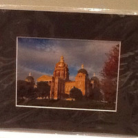 Vintage color photograph of the Iowa State Capitol in Des Moines, Iowa by J.E. Hoard (?) sealed in plastic with a black border. 8 x 10""