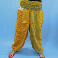 Vintage Silk Sari Harem Comfy Pants - Baggy Loose Comfortable Womens Sweatpants - Great for Dance