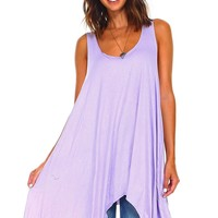 Lavender Sleeveless Handkerchief Swing Tunic
