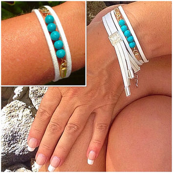 Genuine turquoise & Suede cuff bracelet, stacking bracelet, silver, gold, boho bracelet, arm candy, layering bracelet, leather