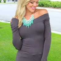 Amazing Seamless Charcoal Off The Shoulder Long Sleeve Top - Modern Vintage Boutique