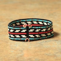 Native American Style Bead Loom Bracelet - Southwestern - Tribal -Black Red White - Beaded - Boho - Hippie - Beadweaving - Seed Beads