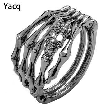 YACQ Skull Skeleton Hand Bracelet Bangle Biker Gothic Jewelry Gifts Women Her Girlfriend Antique Silver Color D08 Dropshipping