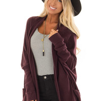 Plum Open Cardigan with Cuffed Sleeves and Pockets