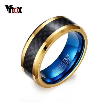 Vnox Blue Tungsten Carbide 8mm Men's Rings with Black Carbon Fiber Inlay