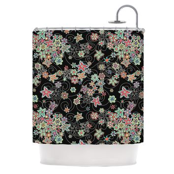 "julia grifol ""My Small Flowers"" Black Floral Shower Curtain - Outlet Item"