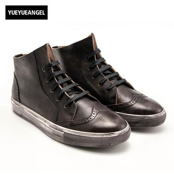Vintage Retro Men Genuine Leather Cow Breathable Lace Up Flats Shoes Wing Tip Male High Help Sapatos Masculino Black Coffee