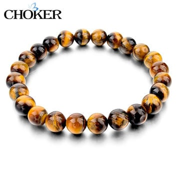 Tiger Eye Love Buddha Bracelets & Bangles Trendy Natural Stone Bracelet For Women Famous Brand Men Jewelry 2016 New Pulseras