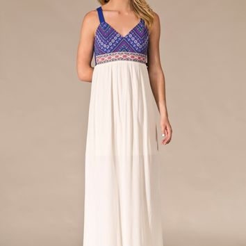 Flying Tomato Blue Ivory Boho Embroidered Long Maxi Dress