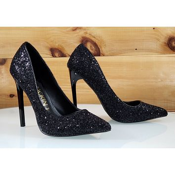 "Mac J Black Glitter Pointy Toe Pump - 4.75"" High Heel Shoes"