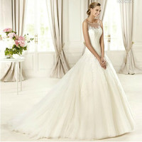 Custom Ivory White Lace Sleeveless Spring Summer Wedding Gowns Dresses SKU-119004
