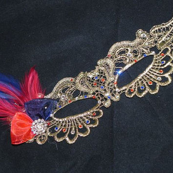 Gold Lace Masquerade Mask with Red and Navy Accents