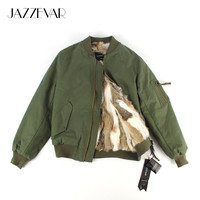 JAZZEVAR 2016 New autumn winter fashion street real rabbit fur liner cusual bomber jacket Women's basic jacket