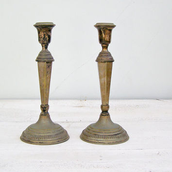 Mid century Art Deco oxidized silver Candle Holders, Victorian Tableware Candlesticks Wedding decor Gift for Newlywed Hostess, Jewish Sabbth