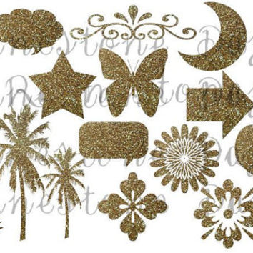 "Gold Glitter Digital Clipart, ""GOLD GLITTER CLIPART"", butterfly, moon, heart, palm trees, talk bubble, arrow, flowers, star, fleur de lis"