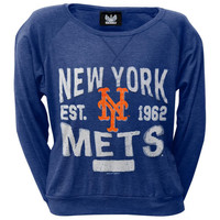 New York Mets - Distressed Logo Juniors Wide-Neck Long Sleeve T-Shirt