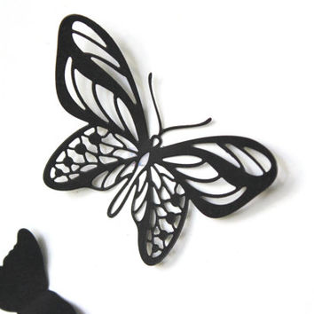 Black Butterflies, Wall Art, Wall decor, Butterflies, Paper butterflies, Art, Home Decor, Wedding Favor, Birthday