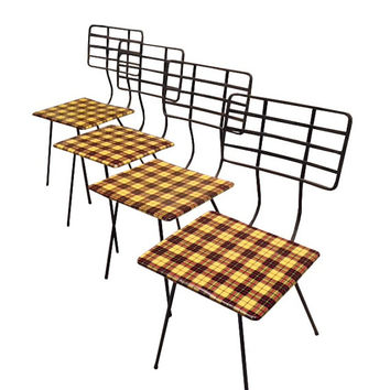 SOLD!  Set of 4 Plaid Vintage Industrial Metal Chairs