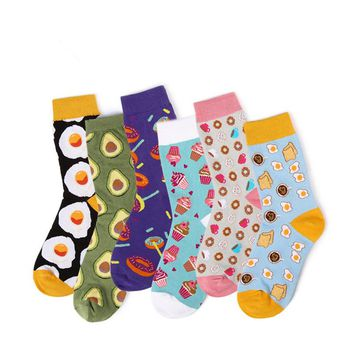 Funny Fruit Cake Animal  Women Socks Cute Kawaii  Avocado Dachshund Husky Egg Sushi Zebra Puppy Dog Wolf Sock