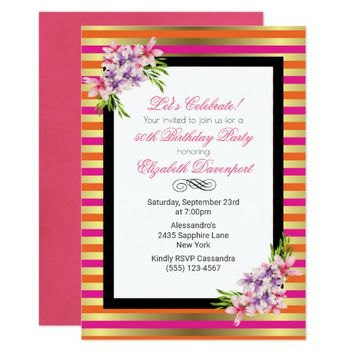 Magnolia on Pink & Faux Gold Stripes Birthday Card