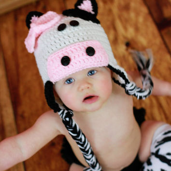 Crochet Cow Hat with bow, black and white, newborn up to adult