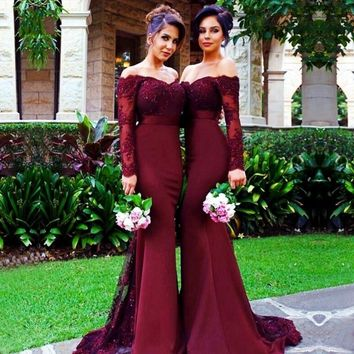 Burgundy Long Sleeve Mermaid Bridesmaid Dresses 2017 Cheap Arabic Vintage Lace Sheer Beaded Sequin Vestido De Festa De Casamento