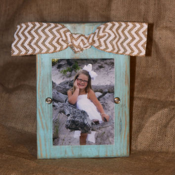 Distressed light aqua block picture frame with chevron bow for 4x6 or 5x7 photo