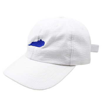 Kentucky Seersucker Hat in White with Royal by Lauren James