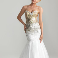 Gold & White Ombre Sequin & Tulle Sweetheart Mermaid Prom Gown - Unique Vintage - Prom dresses, retro dresses, retro swimsuits.
