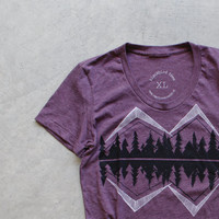 Crater Lake - women t shirt | tshirt women - mountain print on heather plum - gift for her | ladies top - camping shirt by Blackbird Tees