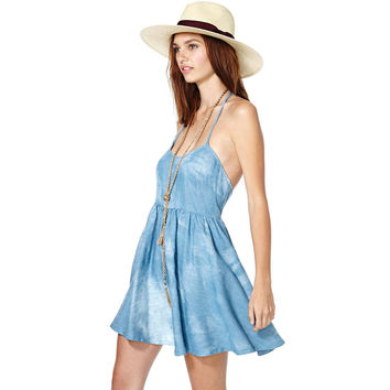 Rinsed Denim Camisole Dress Wrap One Piece Dress [4920530884]