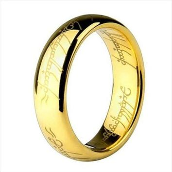 CREYCI7 Gold & Silver Ring Vintage Jewelry Laser Engraved Stainless Steel Chain Ring For Men & Women wedding jewelry