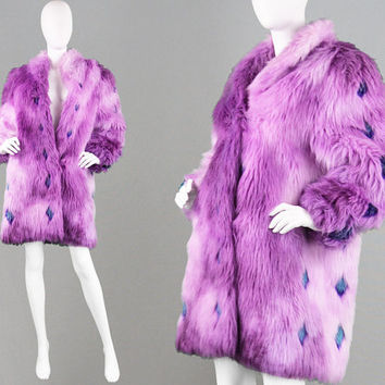 Vintage 80s Shaggy Faux Fur Coat Club Kid Purple Ombre Avant Garde Coat Boho Yeti Fur Coat Glam Rock Coat Fake Fur Astraka of London 1980s