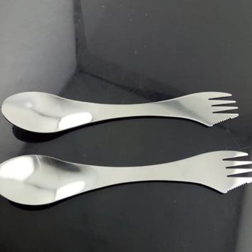 Outdoor Multi Function Stainless Steel Spork Travel Camping Hiking Picnic Utensils Combo Knife Fork Spoon 3 in 1 Tableware 1PC