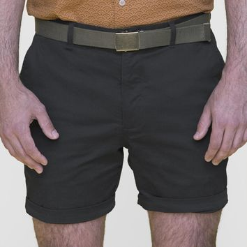 Charcoal Grey Cotton Stretch Twill Shorts