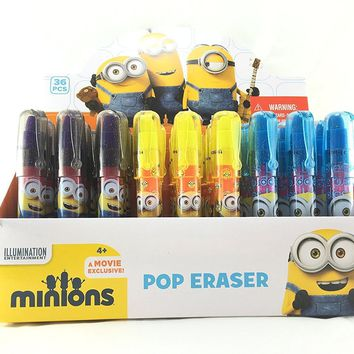 3 Piece Minions POP Rocket Eraser Stick Party Favors Set