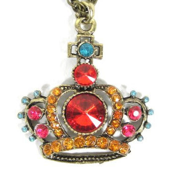 Royal Crown Necklace Gold Tone Red Crystal NA03 Princess Charm Queen Tiara Pendant