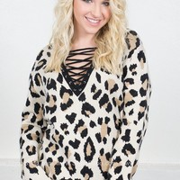 Cheetah Print Eyelet Sweater