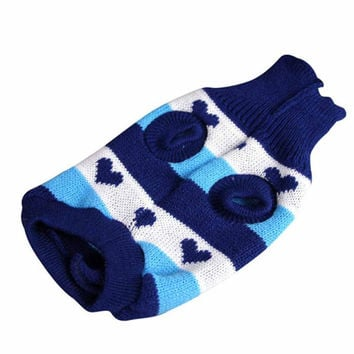 New Qualified Dog Clothes Pet Winter Woolen Sweater Knitwear Puppy Clothing Warm Stripe Coat Levert Dropship dig6225