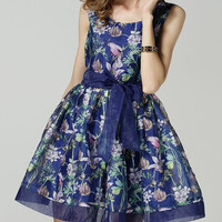 Sleeveless Floral Print Cocktail Summer Dress