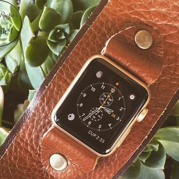 Lux Leather Apple Watch Band in Brown Combo w/ Studs