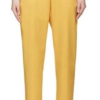 HDY Haoduoyi Autumn Women Fashion Double Pockets Streetwear Solid Yellow Trousers Casual Straight Single Button Pants