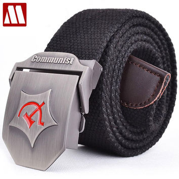 New Men Automatic buckle Belt Thicken Canvas belts Communist Military Belt Army Tactical Belts High Quality Strap