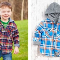 Boy's Flannel Fleece Lined Hooded Jackets Plaid Winter / Fall Button Down Coat