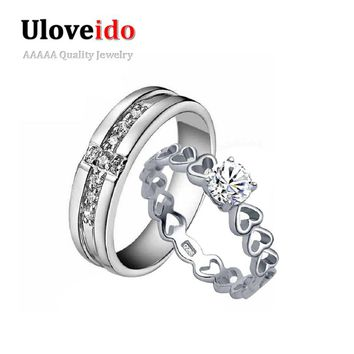 Uloveido Sold by Pair Wedding Vintage Silver Ring Men Heart Women Cross Man Jewelry Sale Couple Rings Bijoux Anel Masculino J391