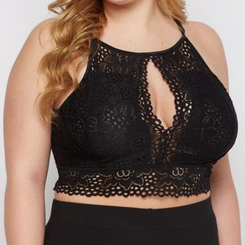 Plus Black High Neck Keyhole Bralette | Plus Bras & Bralettes | rue21