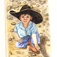 """Little Cowboy: 6x9"""" Original watercolor pencil drawing of a boy, cowboy, child wearing daddy's hat - Ready to Ship"""
