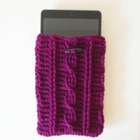 Cable Stitch Mini Tablet or e-Reader Cozy in Boysenberry, ready to ship.